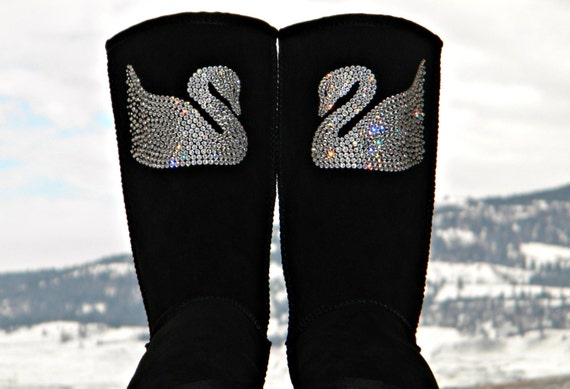Crystal Swan design w/ Swarovski Jewels Handmade Custom Tall UGG Boots Bling Image by Glass Slippers Rhinestone Ladies Winter Shoes gift