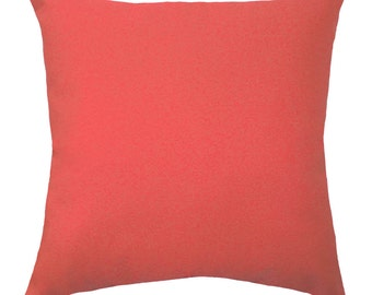 Solid Coral Throw Pillow - Coral STUFFED Throw Pillow - Solid Decorative Pillow - Coral Accent Pillow - Coral Decorative Pillow - Free Ship