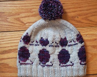 Hand Knitting Pattern // So Many Cats Adult and Kid Hat // Worsted Weight Charted Kitty Cat Designed hat with lining