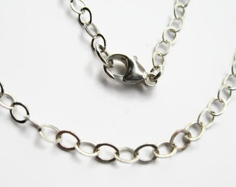 925 Sterling Silver Chain Upgrade, 3.7mm Soldered Links with Lobster Clasp, MEDIUM, CHOOSE Your Length.  Add Sterling Necklace To Your Order