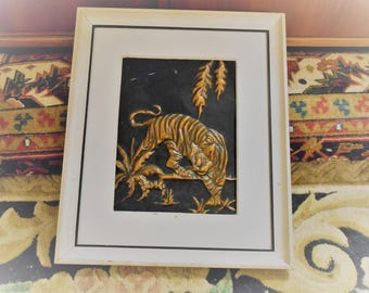 REDUCED  Tiger Ready to Pounce in Hammered Copper, matching piece Sold and Listed Seperatel or with Matching at Discount