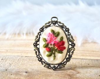 Vintage Framed Floral Embroidery