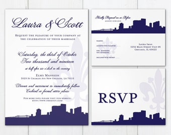 Printable New Orleans Invitation Wedding Party Flat Other Cities available Travel Skyline Fleur de Lis