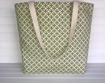 Green Geometric Tote | Handmade Everyday Tote | Market Bag