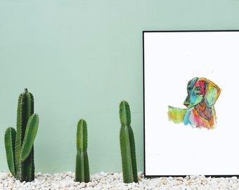 Dachshund Art Print - Original Watercolor Wall Art Print