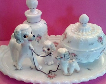 Ceramic French Poodle Family on a Leash