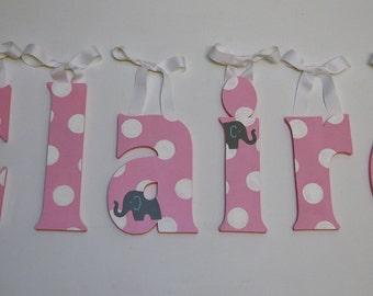 Custom Hand Painted Nursery Letters - Gray Elephants