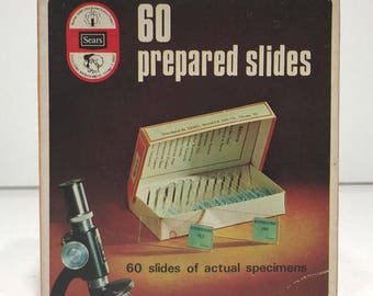 1960's-70's Vintage Sears Prepared Microscope Slides 60 slides