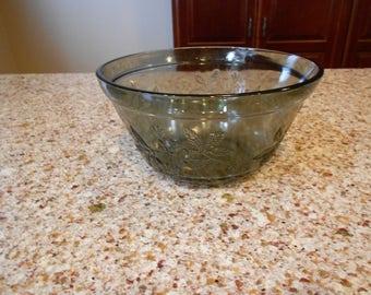 Vintage Smoky Black Glass Bowl with Floral Design