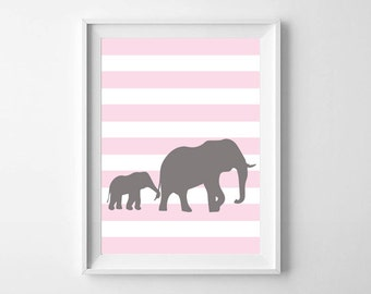 Baby Safari Nursery Art - Nursery Decor- Zoo Animals, Elephants, Safari, Wall art, Animals, Kids Decor, Gender Neutral, Colors Customizable