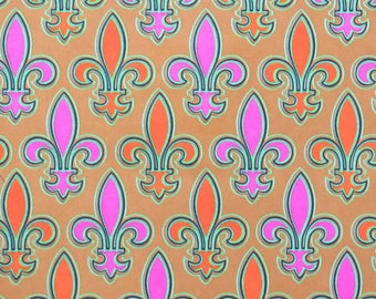 Vintage Gibson All Occasion Wrapping Paper - Gift Wrap - Bright FLEUR DE LIS Pattern - 1960s