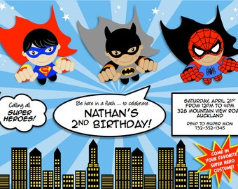 Super Heroes party printable PERSONALIZED invitation with Flying superhero Boys - Superman, Batman, Spiderman or choose from our collection