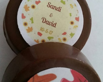 24 Custom Edible Image Fall Wedding Event chocolate covered lollipops or oreos