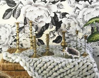 Vintage brass candlestick holders, larger vintage candlestick holders, set of 2 ornate vintage candlestick holders