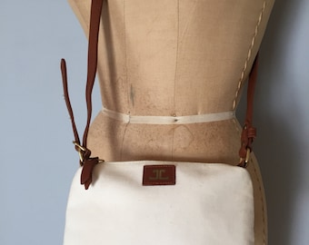 CHESTNUT leather and cotton purse | small messenger bag | small iphone bag