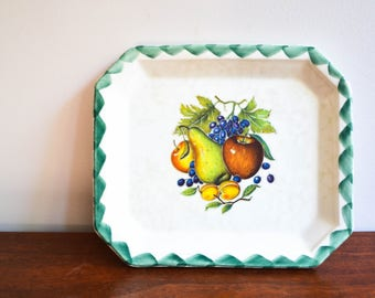 French Farmhouse Fruit Still Life Decorative Plate & Vintage Hyalyn Porcelain Company Old Automobile Decorative