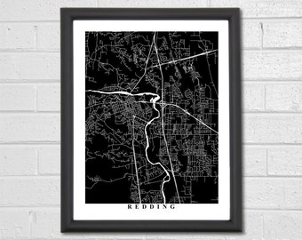 Redding Map Art - Map Print - Black and White Print - California - Personalized - Travel Gift - Decor - Housewarming Birthday Engagement