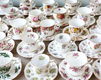 Tea Party Set, Mismatched Tea Cups, Vintage Teacups, Mix and Match, Bridal Shower China, 10 USD each, Job Lot Tea Cup