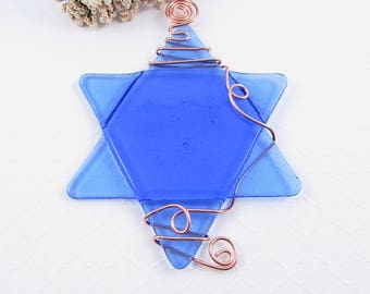 Fused Glass Star of David Suncatcher - Light Blue Glass Star of David Ornament - Hanukkah Star - Wire Wrapped Star - Chanukah Decoration