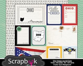 Ohio Vintage Journal Cards. Digital Scrapbooking. Project Life. Instant Download.