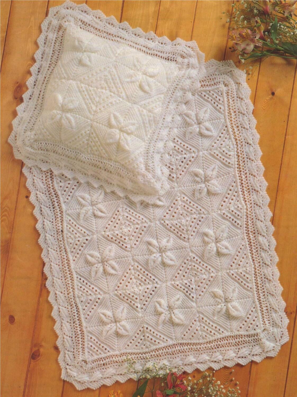 Baby Blanket and Pillowcase PDF Knitting Pattern : Babies Boy