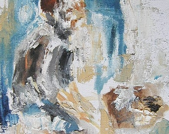 Original Painting, Man Sitting, 6 x 8 inches, Oil on Canvas, Abstract Art, Impressionistic Artwork