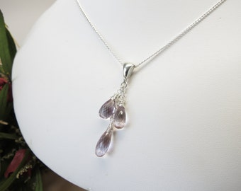 Ametrine Necklace, Light Purple Pale Yellow Semiprecious Gemstone Necklace In Sterling 15-20 Inches Length, Keira's Crystal Creations