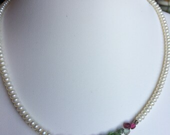 Necklace — Briolettes of Watermelon Tourmaline with Freshwater Pearls