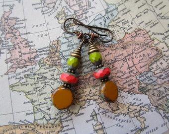 Unique Multi-color *Sale* Hypoallergenic Czech Glass Earrings; One of a Kind Earrings & Niobium Ear Wires; Simple Bohemian Style Earrings
