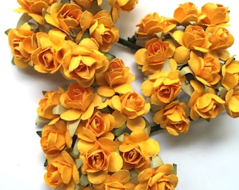 36 Small Gold Yellow Mulberry Flower Paper Roses for DIY Hair Accessories, Wedding Decorations, Scrapbook Crafts and Embellishments
