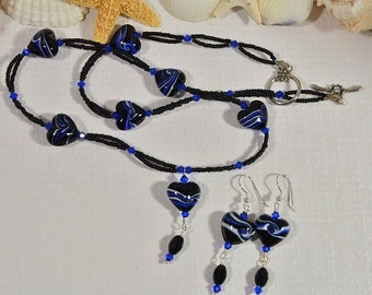 Long With Lariat Necklace. Beaded Swirl Black Heart Necklace. Black and Blue Necklace.