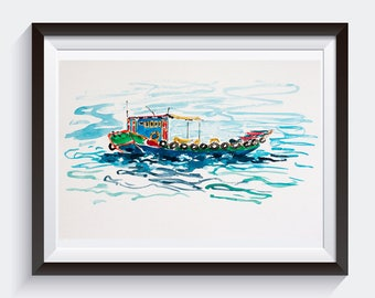 Fishing boat painting.Colorful wall art fishing boat.Traditional southern Chinese fishing boat.Ocean art.Boat decor.Boat gift.Original art