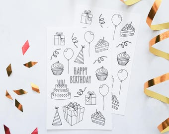 Birthday Coloring Planner Stickers, Bullet Journal Stickers, Coloring Birthday Stickers, Adult Coloring Stickers, Coloring Planner Stickers