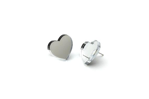 Mirror hearts studs - silver heart earrings - romantic tiny jewelry - lasercut acrylic mirror - hypoallergenic surgical steel posts