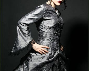 Gothic Victorian Iridescent Silver Crystal Palace Bustle Jacket by Kambriel - Ready to Ship Designer Sample!