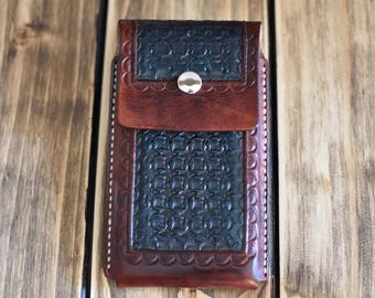 Leather Case for IPhone7. Hand crafted leather case. Hand tooled leather case. Original gift. Gift man.