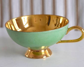 ON SALE Rare Vintage 1950s Thomas Rosenthal Demitasse Cup with Gold Plating. Pastel Green Made in Germany.  Regular Price 29 USD