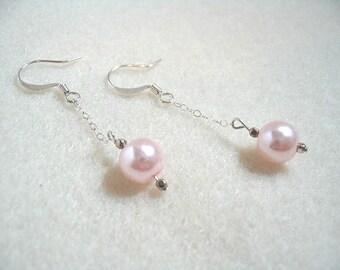 Pink Pearl Bead Earrings, Glass Beaded Long Dangle Sterling Silver Chain Drop Earrings, Classic Bridal Earrings, Wedding Trends
