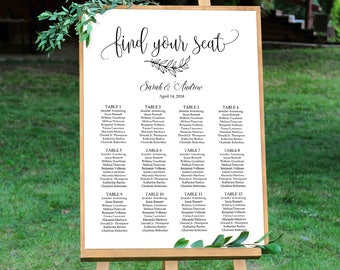 Wedding Seating Chart Sign, Calligraphy Wedding Table Plan, Seating Board, Seating Plan Template, #A045, INSTANT DOWNLOAD, Editable PDF