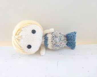 Mermaid doll, mermaid tail, doll for sale, blonde hair, blue mermaid fin, ready to ship, hand knit doll, art doll mermaid, plush mermaid