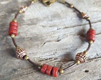 Leather and Beads Bracelet