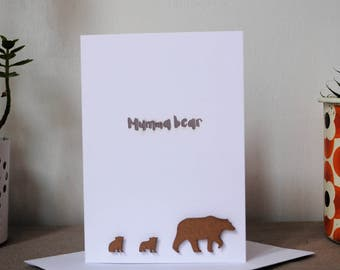 Mumma bear paper cut card-white, mother's day card, mum card, paper cut, cards for her, cards for mum, cards for new mum, free P&P