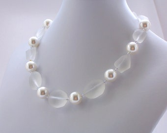 Winter White Beaded Necklace Frosted Matte Glass Sterling Silver Pearl Swarovski Crystal Necklace Jewelry Wedding Bridal Modern Jewelry