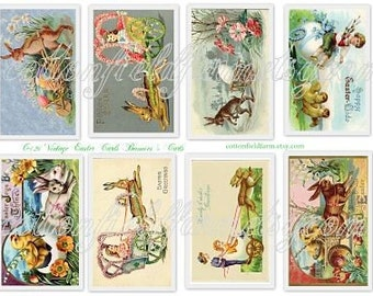 Vintage Easter Cards Bunnies & Carts C-126 Digital Collage Sheet