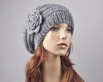 Hand Knit Hat - Oversized  Beret Hat with crochet flower in light grey