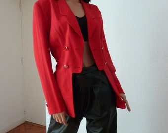 Vintage KARL LAGERFELD Scarlet Red Jacket 100% Wool Made in Germany UK 12 90s Blazer Gold Buttons Military Equestrian