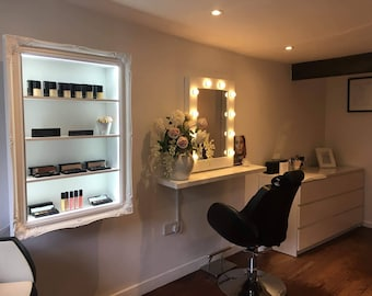 Makeup organiser beauty display cabinet with LED bright illumination