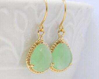 Mint Green Dangle Earrings- Gold Dangle Earrings- Bridesmaid Earrings -Wedding Earrings-Gift For Her-Mint Green Wedding Earrings