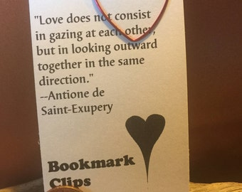 Heart bookmark in red wire with card/quote.