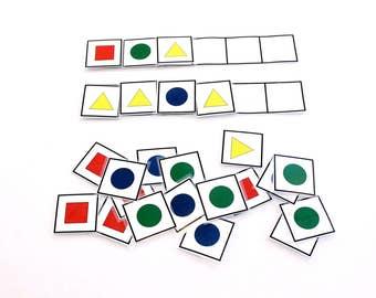 Teaching Patterns, Patter Making, Sequencing, Fidget Toy, Kindergarten, Preschool, Pre K, Quiet Book, School Activity, Montessori Busy Bag